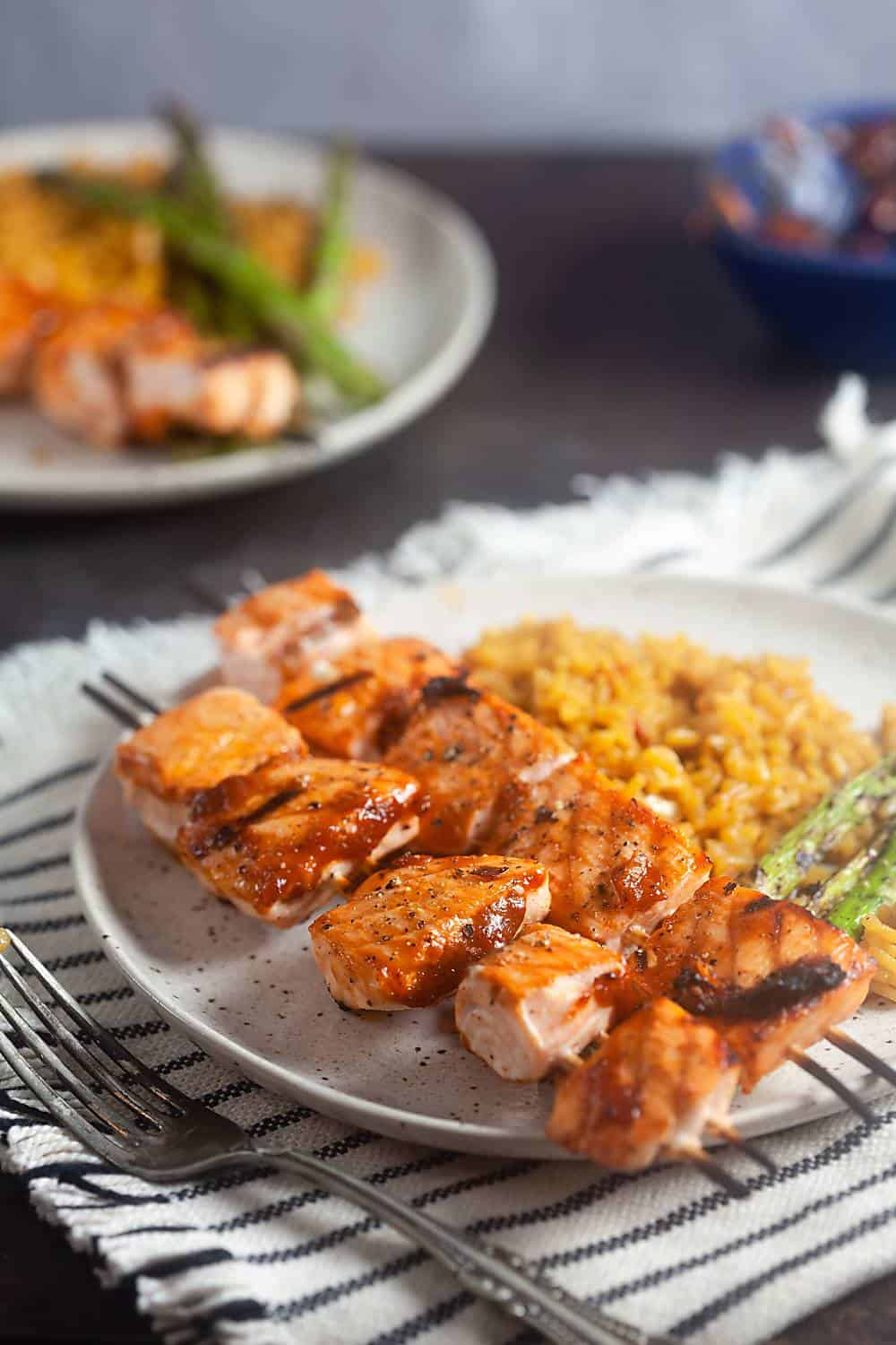 Maple Barbecue Salmon Skewers
