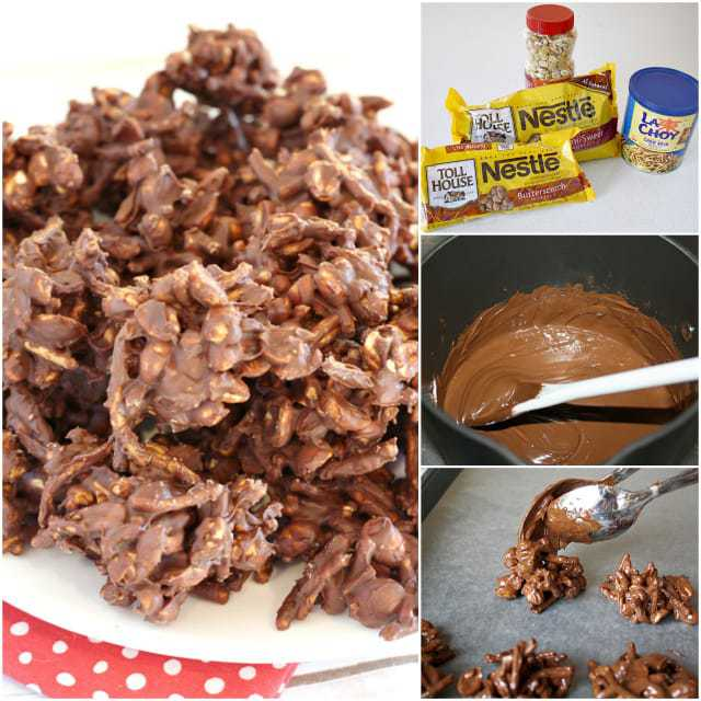 Peanut Clusters are the easiest no-bake treats to make with just four ingredients - chocolate chips, butterscotch chips, peanuts and crunchy chow mein noodles!