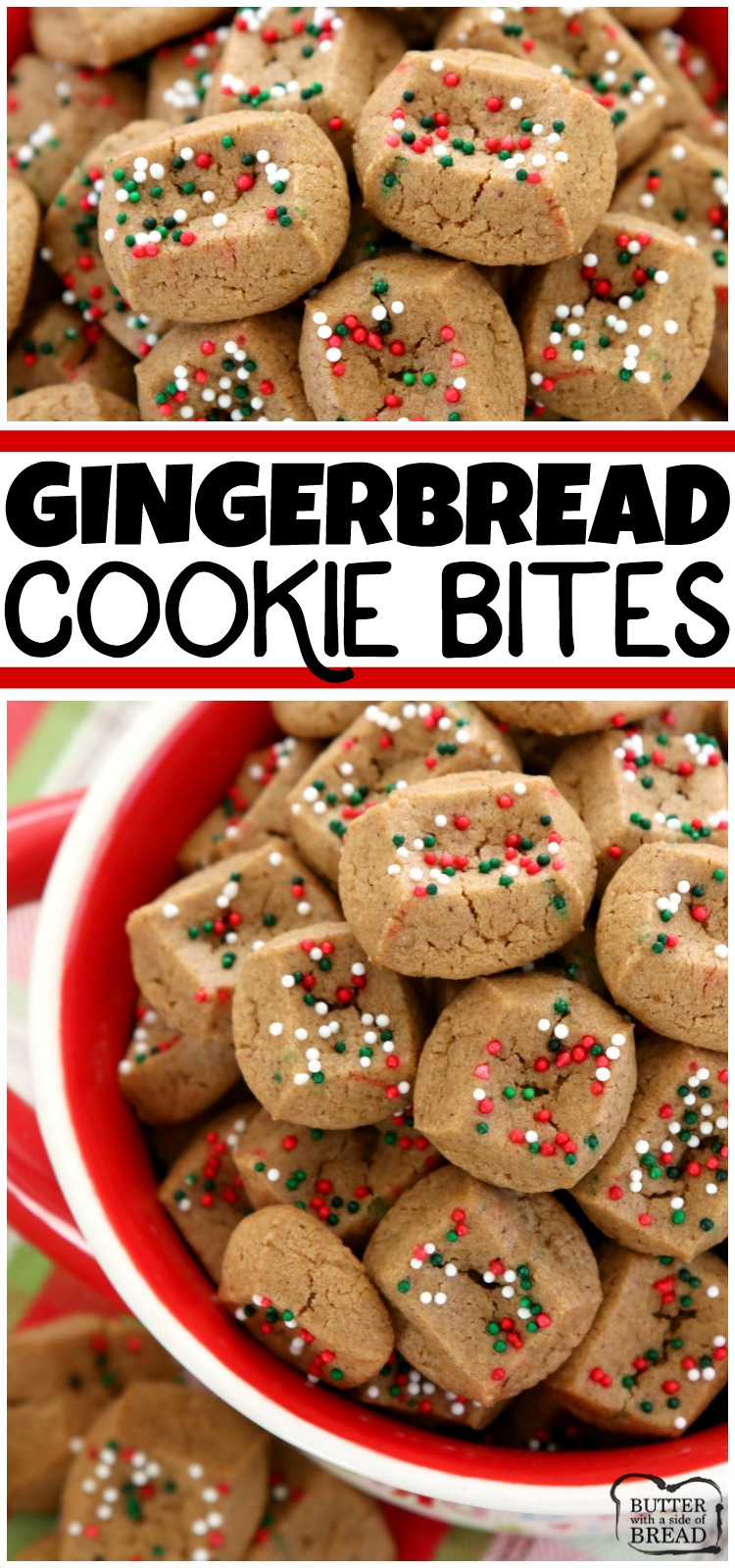 The simplest gingerbread cookie recipe ever! Chewy, bite-sized gingerbread cookies that take a fraction of the time to make! They're perfect for holiday parties and get-togethers! #gingerbread #cookies #christmas #baking #dessert #cookie #holidays #recipe from BUTTER WITH A SIDE OF BREAD