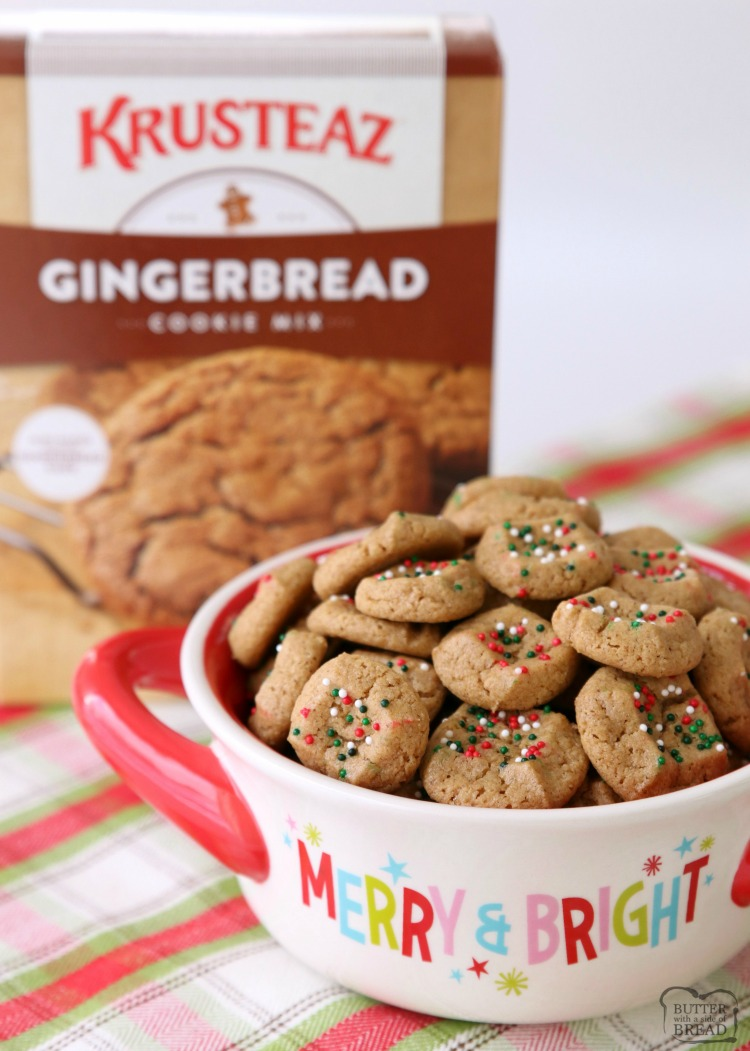 The simplest gingerbread cookie recipe ever! Chewy, bite-sized gingerbread cookies that take a fraction of the time to make! They're perfect for holiday parties and get-togethers!