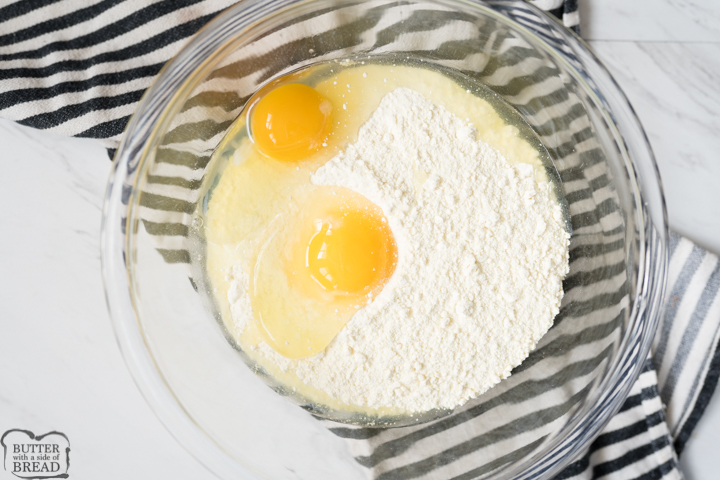 lemon cake mix and eggs for the lemon cake mix cookies