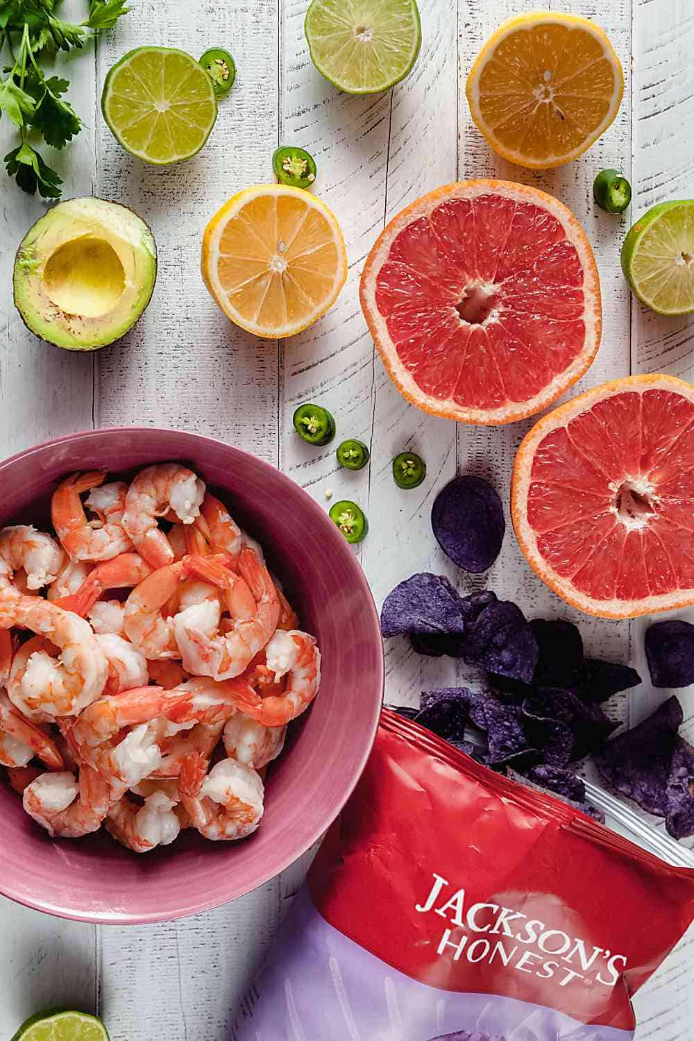 Shrimp and Grapefruit Ceviche Ingredients