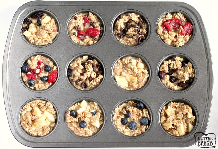 Easy Baked Oatmeal Cups are perfectly portioned and customizable so that everyone in the family can enjoy a quick and healthy breakfast! This baked oatmeal recipe can be enjoyed plain or you can add raspberries, blueberries, chocolate chips, raisins or any other type of topping that you enjoy with oatmeal!