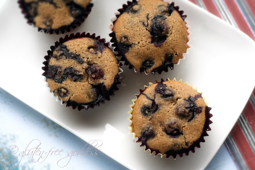 Almond blueberry muffins on a plate