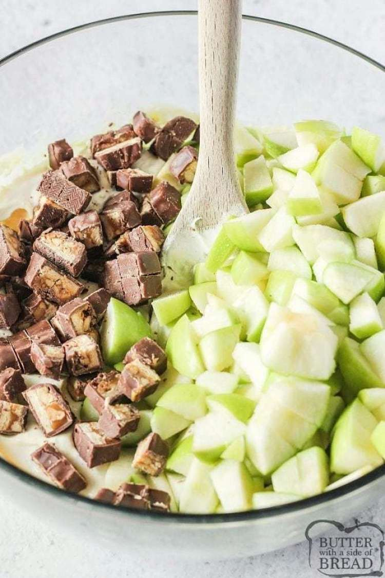 creamy fruit salad recipe with snickers and apples