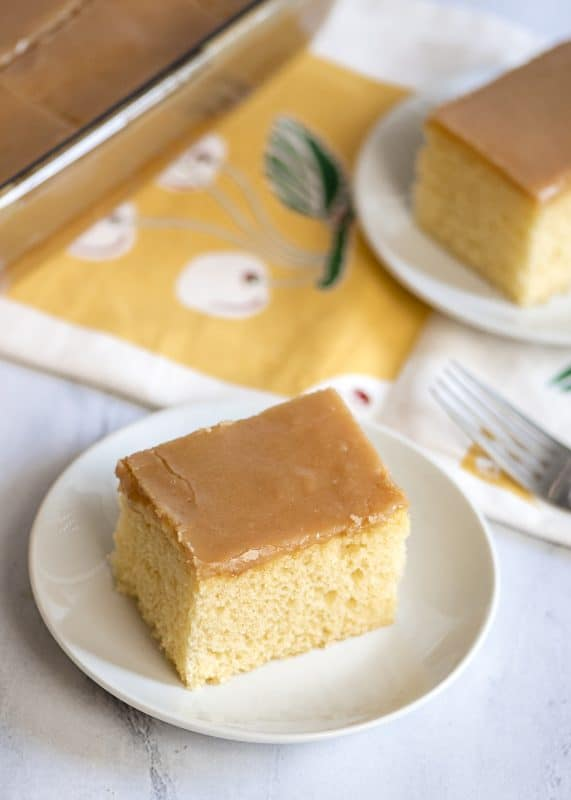 Piece Of Yellow Cake with Old Fashioned Peanut Butter Icing