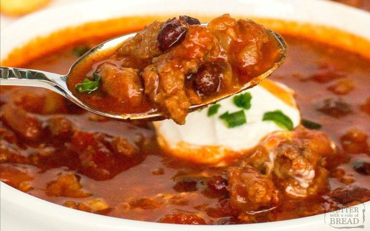 Gordon Ramsay Recipes Bold Three Meat Crockpot Chili Butter With A Side Of Bread By Gordon Ramsay