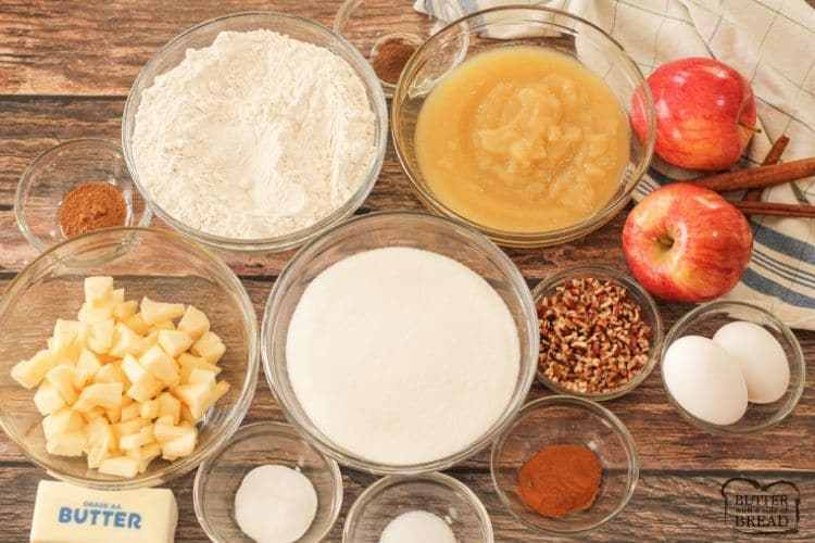 bowls filled with ingredients to make apple spice cake
