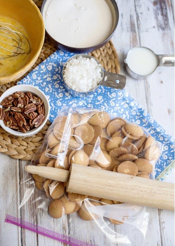 Crushing Nilla Wafers For Mama Reed's Vanilla Wafer Cake Recipe