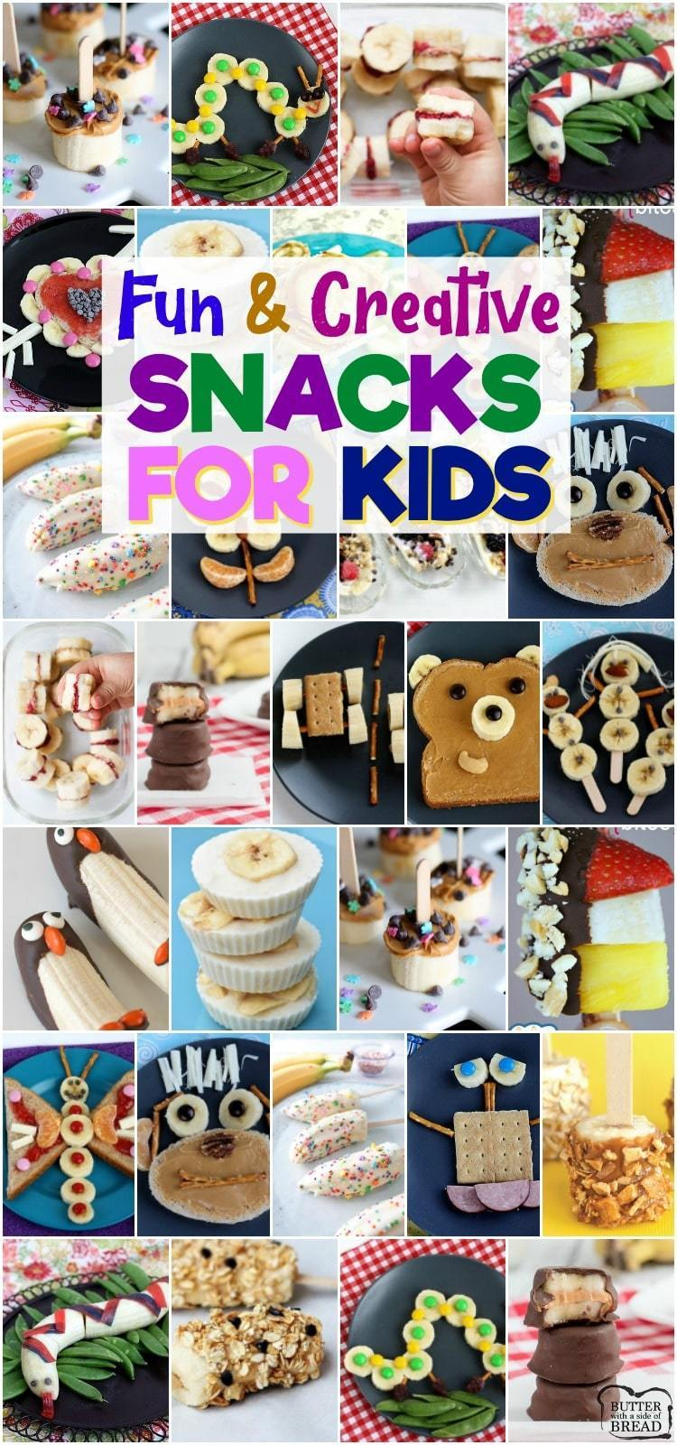 Cute & creative snacks for kids with bananas! Fun, healthy banana recipe snack ideas perfect for toddlers & kid's lunches. #snacks #ideas #food #lunch #snacksforkids #toddlers #bananas from BUTTER WITH A SIDE OF BREAD