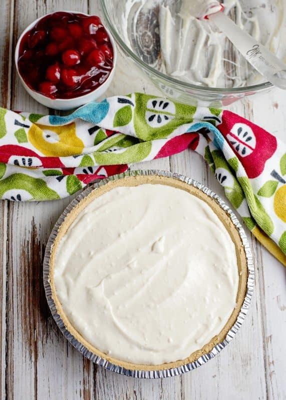 Cherry Cream Cheese Pie Ready For Fridge