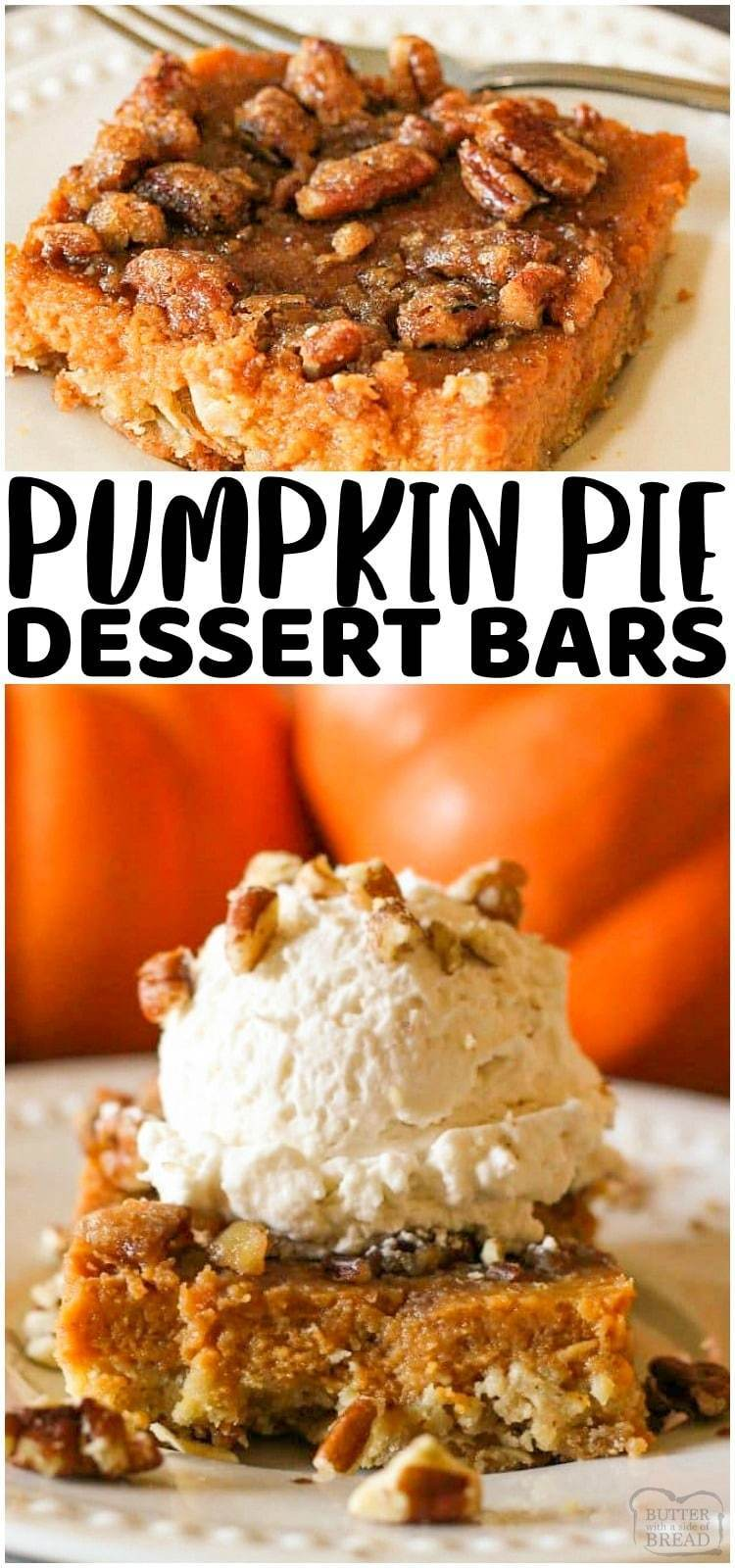 Pumpkin Pie Bars have a simple oat, butter crust with a traditional pumpkin pie filling topped with crunchy, sweet pecans. This bar version of the best pumpkin pie recipe is the perfect Thanksgiving Dessert for feeding a crowd and so much easier than making a pie! #pumpkinpiebars #oatmeal crust #pumpkinpiedessert