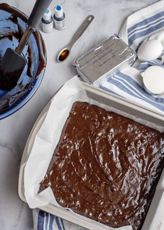 Tie Dyed Cheesecake Brownies Batter in pan