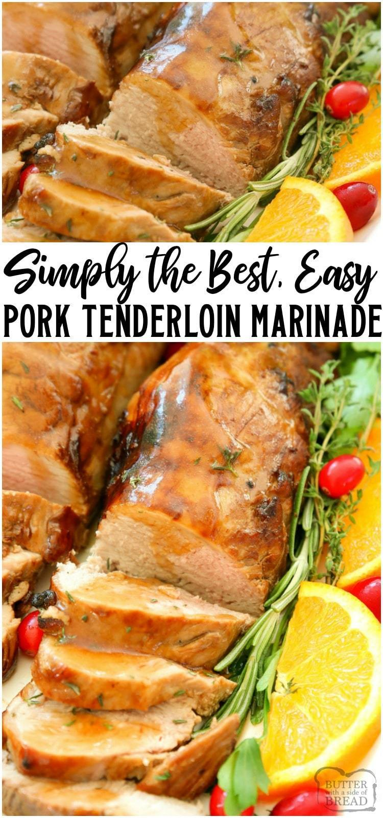 Holiday Roast Pork Tenderloin made EASY with this flavorful marinade! Simple festive pork dinner that looks elegant yet is SUPER EASY to make. The pork tenderloin marinade is just 5 ingredients, including a couple of cans of lemon lime soda! #pork #tenderloin #marinade #recipe #dinner #easydinner #holidaydinner #roastedpork #recipe from BUTTER WITH A SIDE OF BREAD