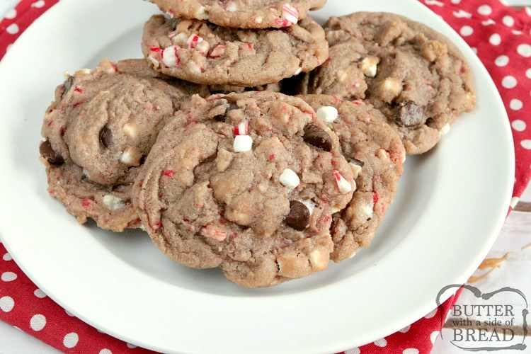 Hot chocolate cookies with marshmallows, candy canes and chocolate chips