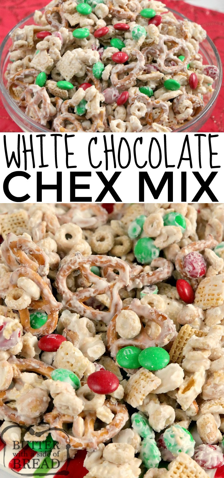 White Chocolate Chex Mix is made with cereal, pretzels, peanuts and M&Ms all coated in white chocolate. This easy chex mix recipe is salty and sweet and comes together in less than 5 minutes!
