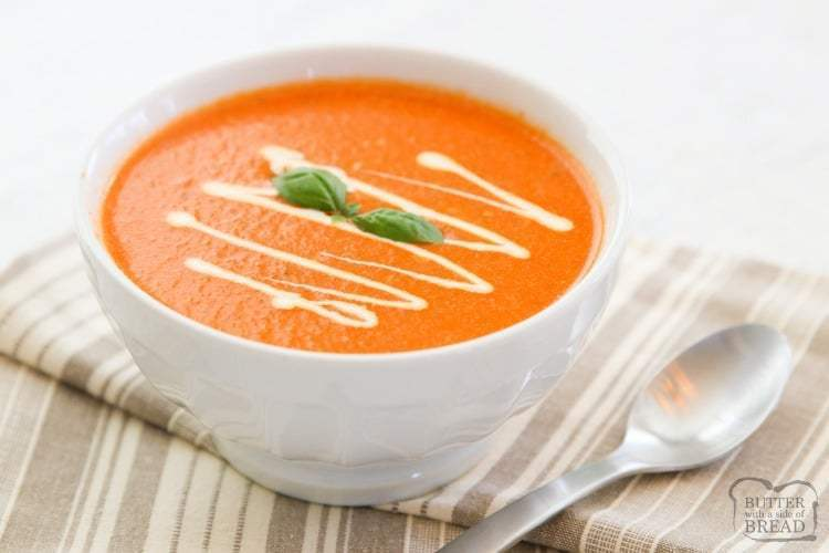 Quick & easy Tomato Basil Soup recipe made in just 10 minutes! We used San Marzano style tomatoes, broth, fresh basil & butter to make this smooth & tangy tomato soup. Perfect for a quick weeknight meal or lunch.