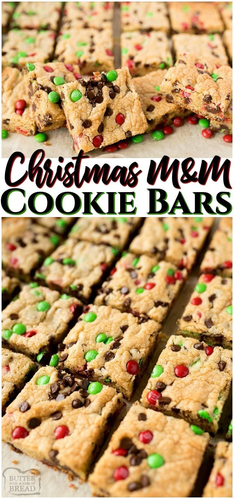 Christmas M&M Cookie Bars are a soft and tender chocolate chip cookie bar with festive green and red mini M&M's included! The soft and chewy Christmas cookie bar will be the star of the party! #Christmas #cookies #cookiebars #M&M #baking #holidays #desserts from BUTTER WITH A SIDE OF BREAD