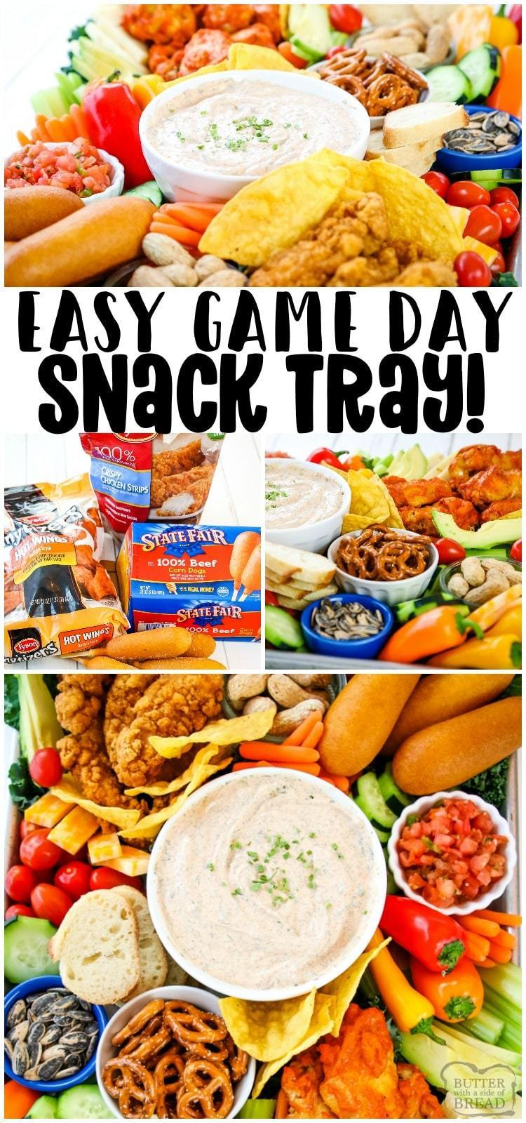 Smoky Homemade Ranch Dip served with all your game day favorites: hot wings, chicken strips & more! Wow the crowd with this savory game day snack tray that's delicious & easy to put together. #gameday #footballfood #appetizers #ranchdip #gamedaysnacks #gamedayfood