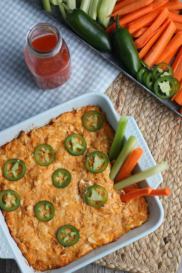 keto Buffalo chicken dip with carrot sticks and celery