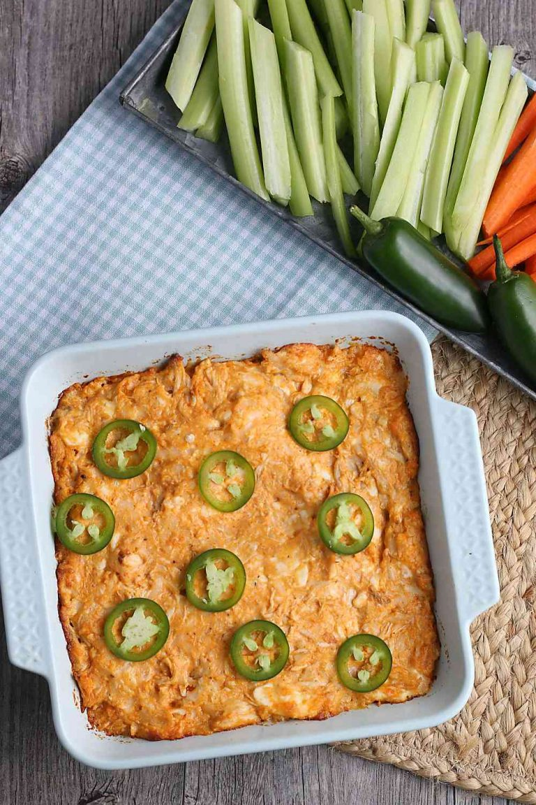 Easy Keto Buffalo chicken dip, made without mayo or dressing