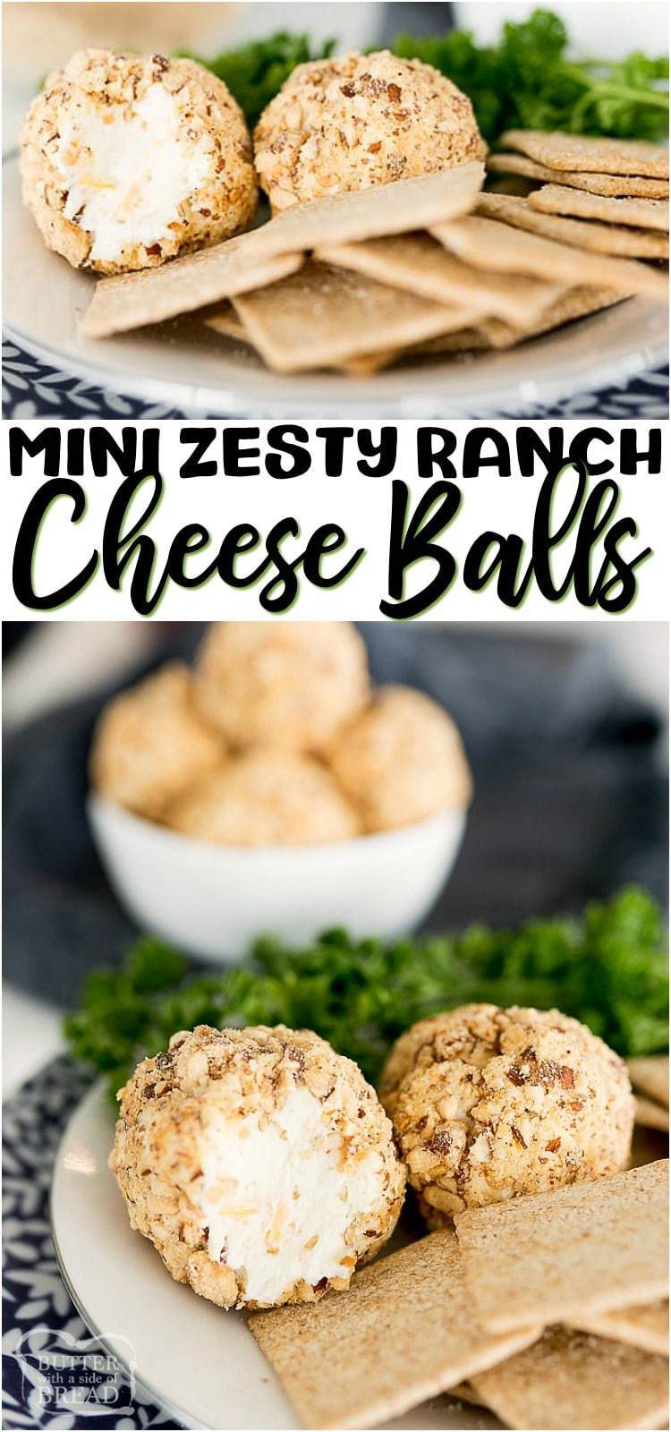 Mini Cheese Balls are everything you love about an ordinary Cheese Ball, only personal sized! The zesty ranch cream cheese ball recipe smeared on a crunchy cracker is the best appetizer around.