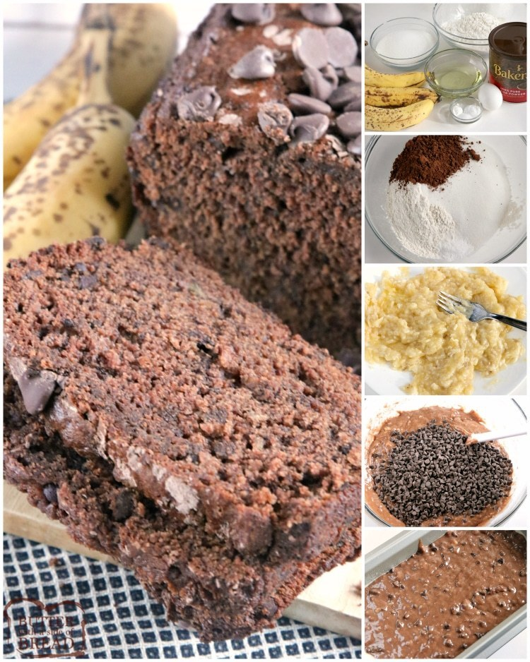 Step by step instructions on making banana bread with chocolate chips and cocoa