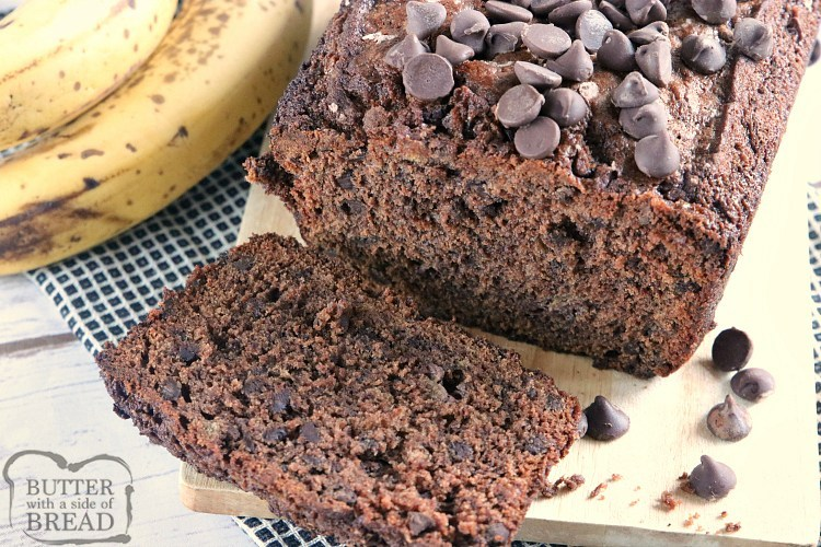 Double Chocolate Banana Bread is moist, delicious and packed with ripe bananas and chocolate chips. This simple quick bread recipe takes traditional banana bread to a whole new level!
