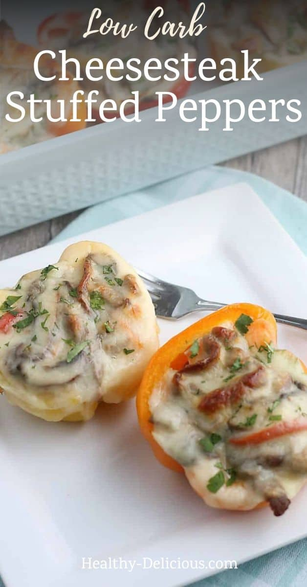 Low carb Philly cheesesteak stuffed peppers are an easy, healthy dinner made with beef strips and melted provolone cheese. You'll love this tasty keto recipe! via @HealthyDelish