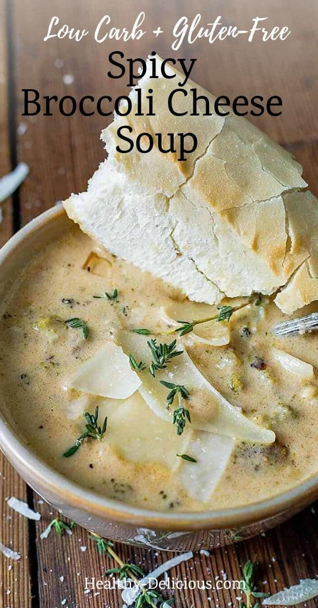 Creamy broccoli cheese soup made with a blend of three cheeses and a hint of spice is an easy weeknight dinner ready in under 30 minutes. Plus it's vegetarian! What could be better? via @HealthyDelish