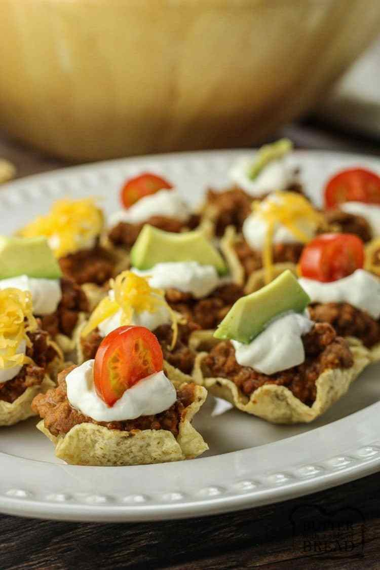 mini taco bites on a white plate