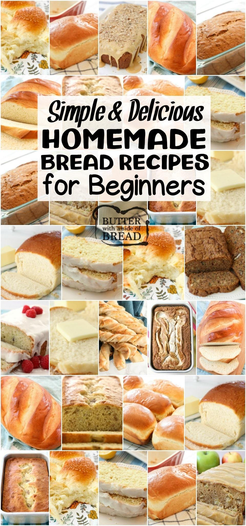 Easy Homemade Bread Recipes for Beginners~ from sweet to savory, quick breads to yeast breads, you're going to love this bread! Most popular easy bread recipes we can't get enough of. If you want to make bread, START HERE!