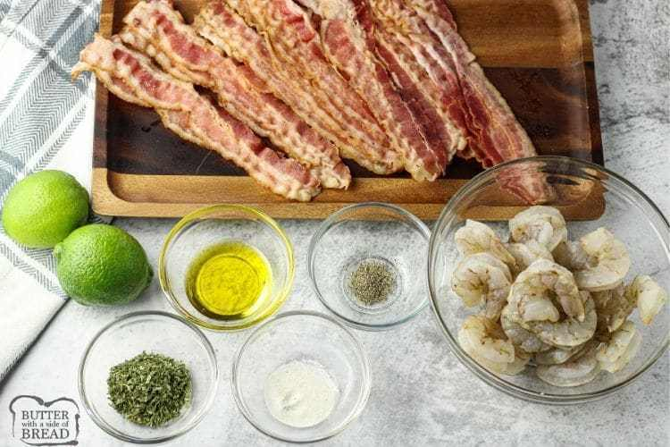 ingredients for bacon wrapped shrimp