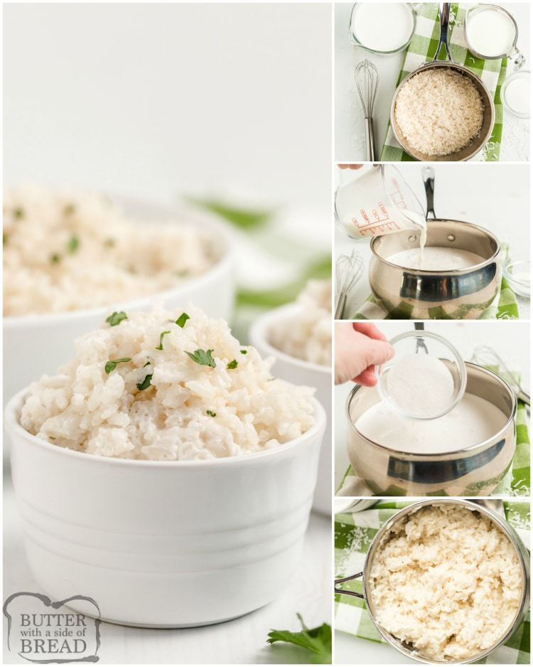 Step by step instructions on how to make coconut rice