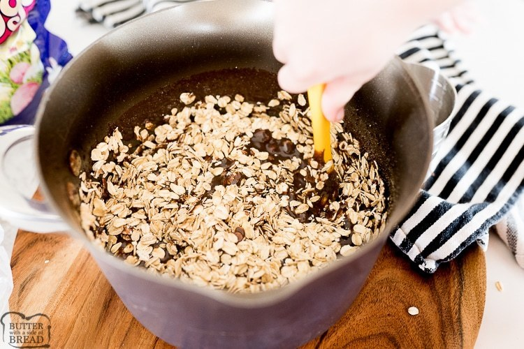 Oats going into chocolate mixture for no bake cookies