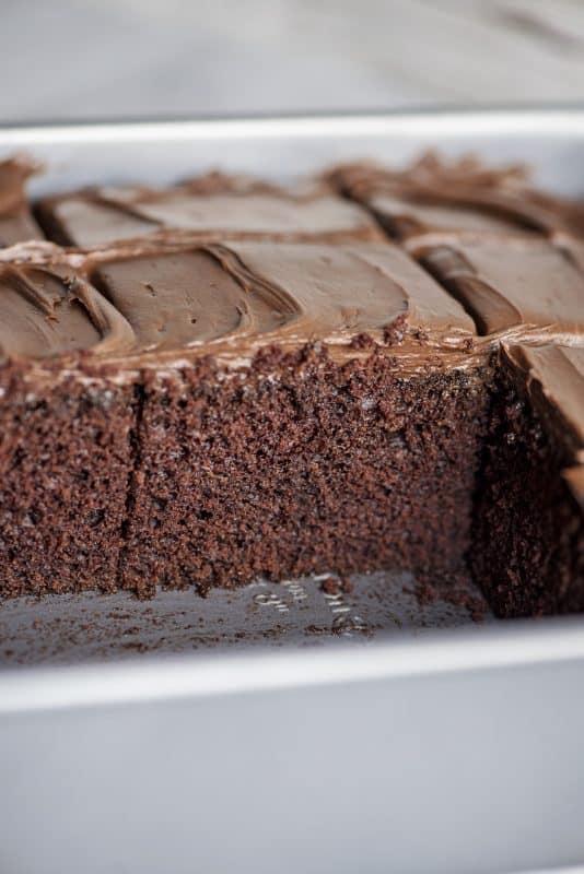 Chocolate Depression Wacky Cake- Cut View