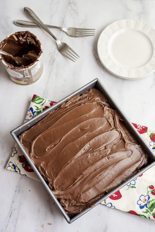 Iced Chocolate Depression Wacky Cake - No Milk or Eggs!