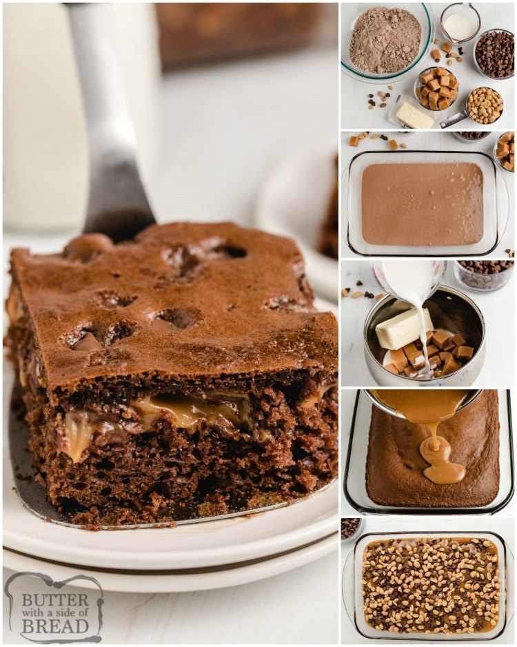 Step by step instructions on making Snickers cake