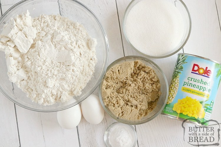Ingredients in pineapple cake