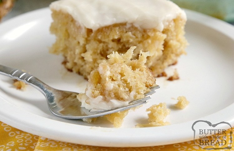 Easy cake recipe made with crushed pineapple