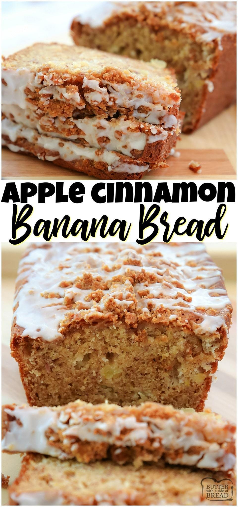 Apple Banana Bread made with ripe bananas and diced sweet apple, topped with a cinnamon streusel and drizzled with icing. Our favorite banana bread recipe ever!