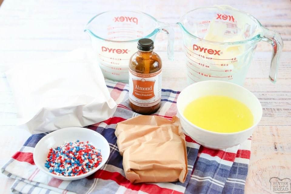 Easy Vanilla Patriotic Cake Bites recipe ingredients