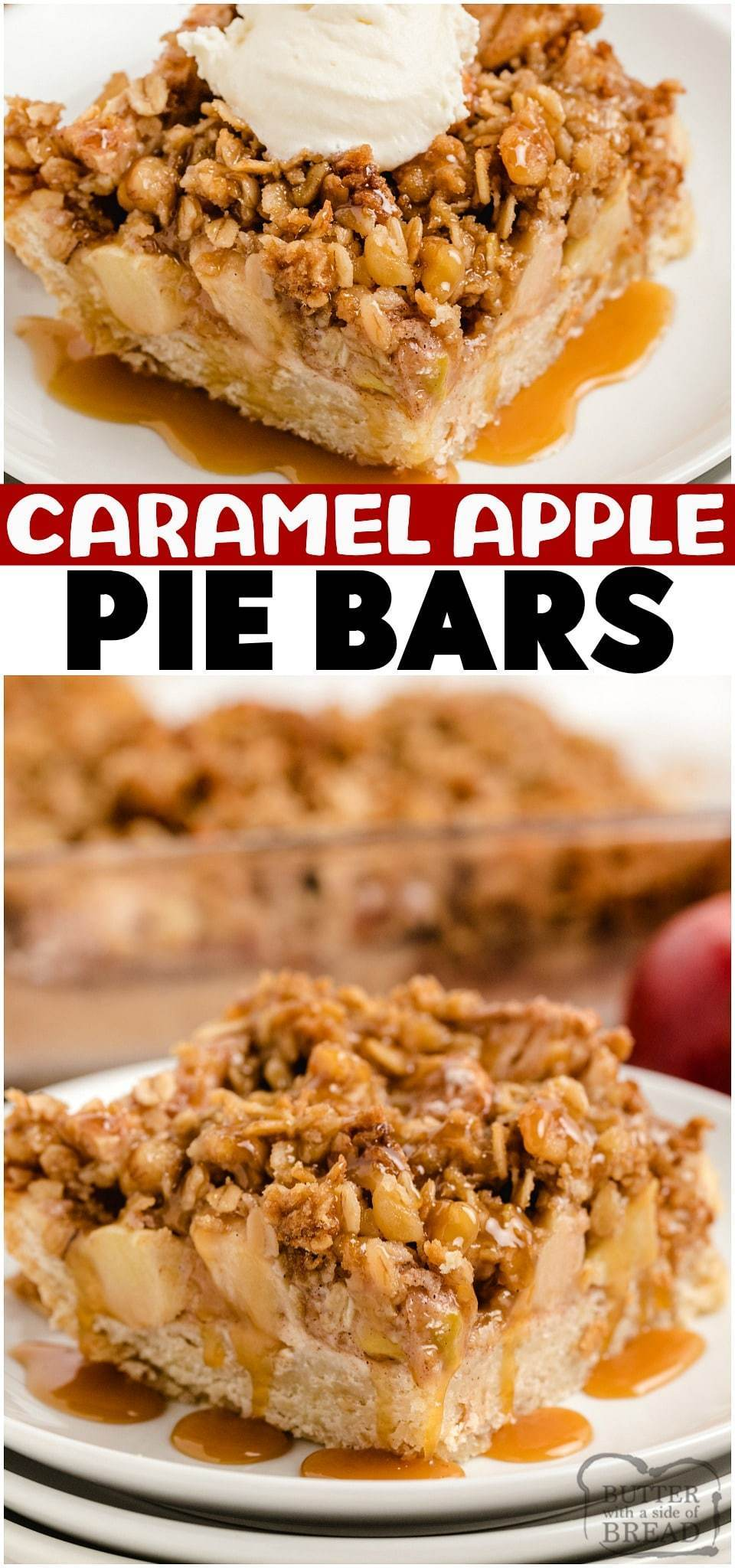 Apple Pie Bars topped with a buttery crumble & drizzled with caramel for a fantastic take on a classic apple pie! Perfect baked apples recipe for a no-fuss alternative to apple pie. Apple pie bars are easier to make, simple to serve and everyone loves them!