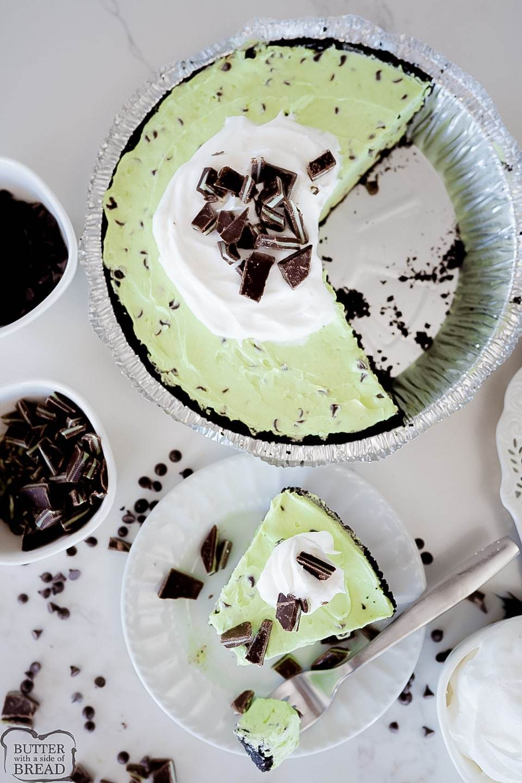 Mint Chocolate Chip Cream Pie recipe