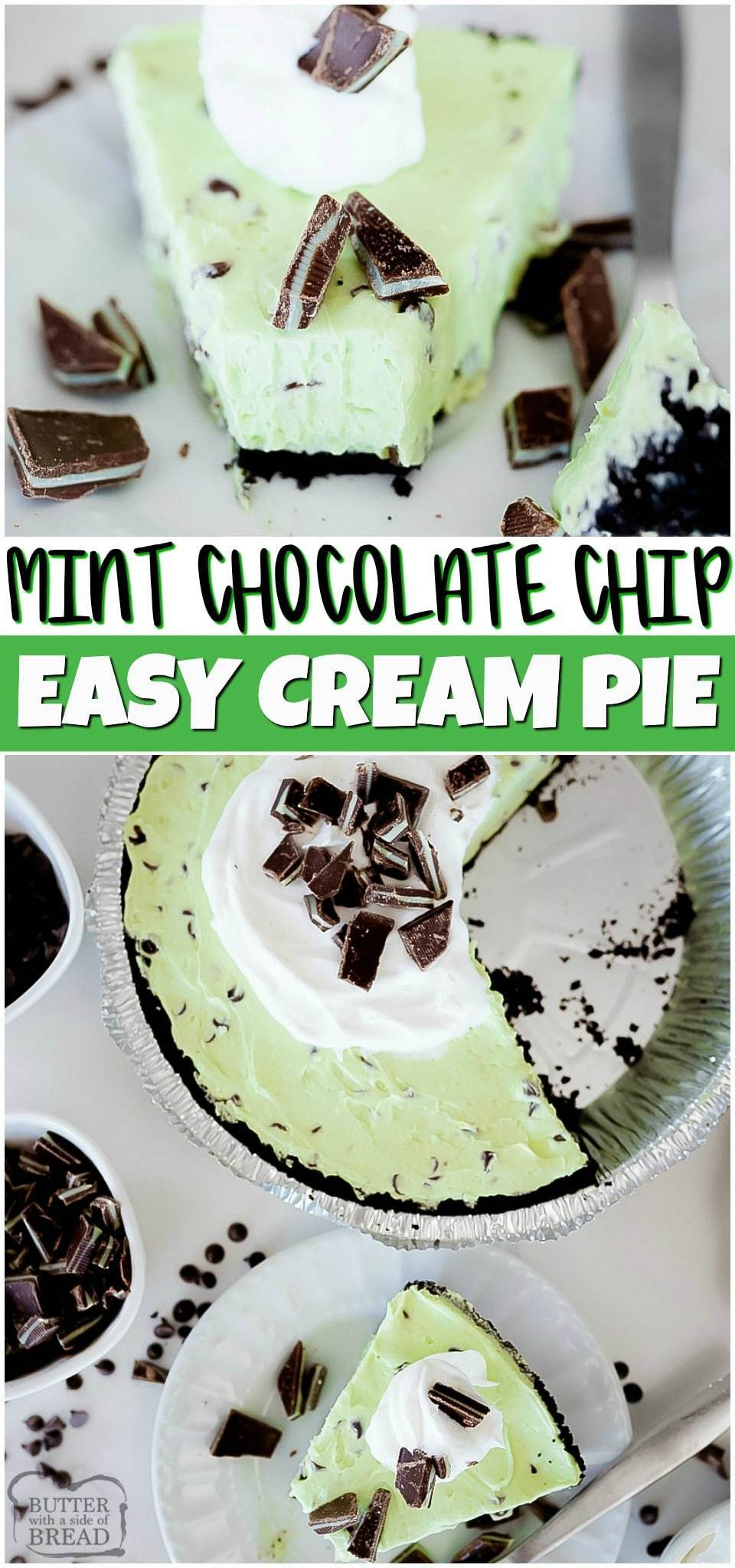 Mint Chocolate Chip Cream Pie is a creamy mint pie loaded with chocolate chips! This easy pie recipe has smooth mint cream filling mixed with chocolate chips & Andes mints all in an Oreo pie crust. Chocolate Mint lovers rejoice!