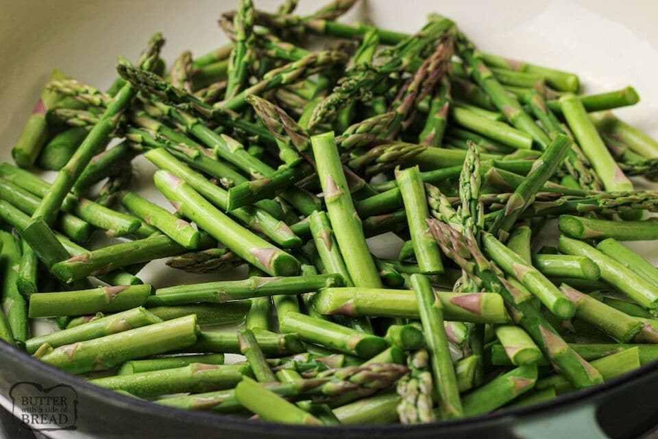 sliced asparagus in pan