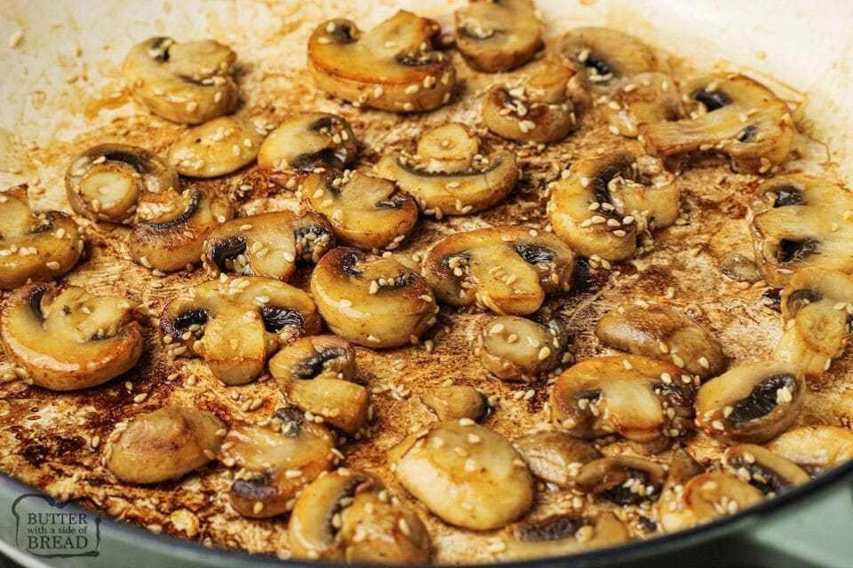 sauteed mushrooms and sesame seeds