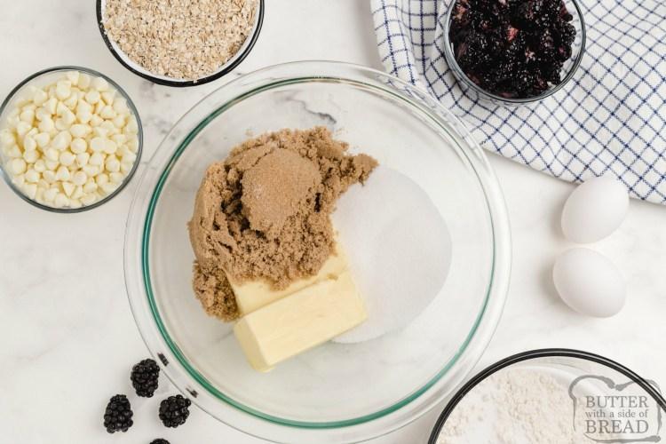 Ingredients in oatmeal cookie recipe with blackberries