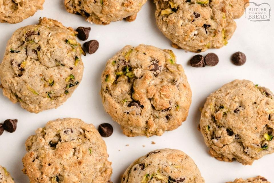 Low fat, low sugar Zucchini cookies with chocolate chips