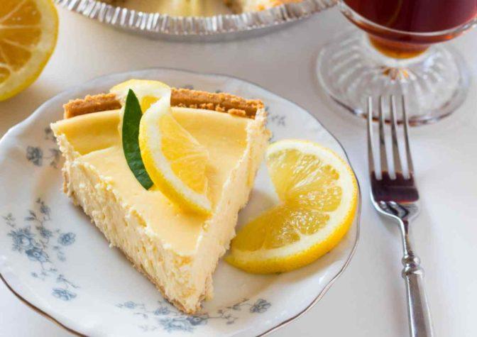 Slice of lemon cheesecake